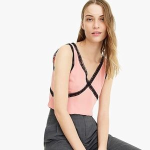 J CREW V-neck Blush Camisole with Black Lace Top
